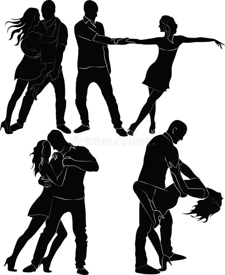 Siluetas de los pares del baile ilustración del vector