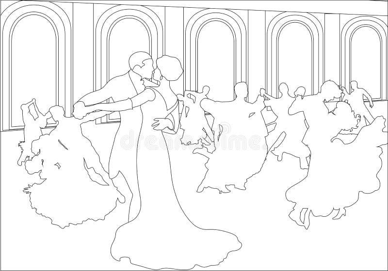 Siluetas de los pares que bailan el vals libre illustration