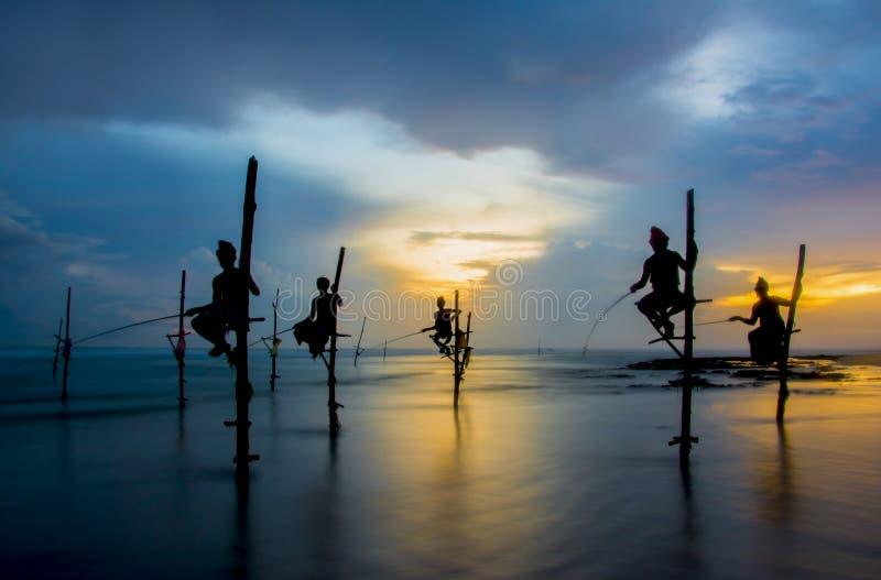 Siluetas de los pescadores srilanqueses tradicionales del zanco imagenes de archivo
