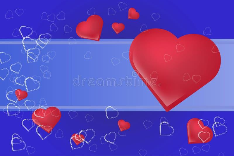 Siluetas de los símbolos del corazón con un lugar bajo texto Fondo festivo hermoso para el día del ` s de la tarjeta del día de S stock de ilustración
