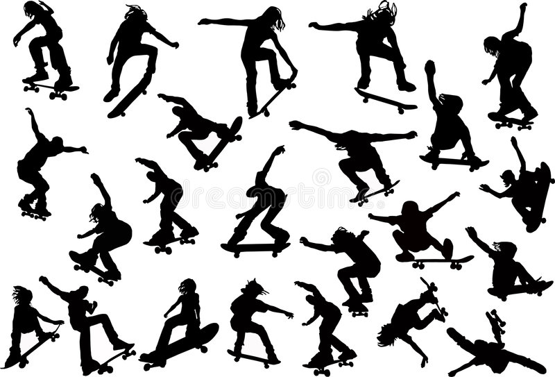 Siluetas de los skateres fotografía de archivo libre de regalías