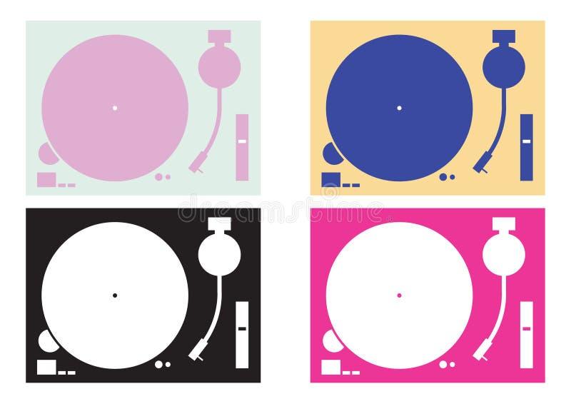 Siluetas de los tocadiscos de DJ ilustración del vector