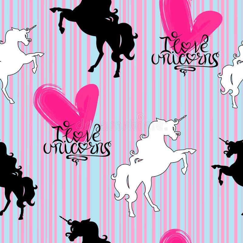 Siluetas de los unicornios blancos y negros con poner letras en un modelo inconsútil del fondo rayado ilustración del vector