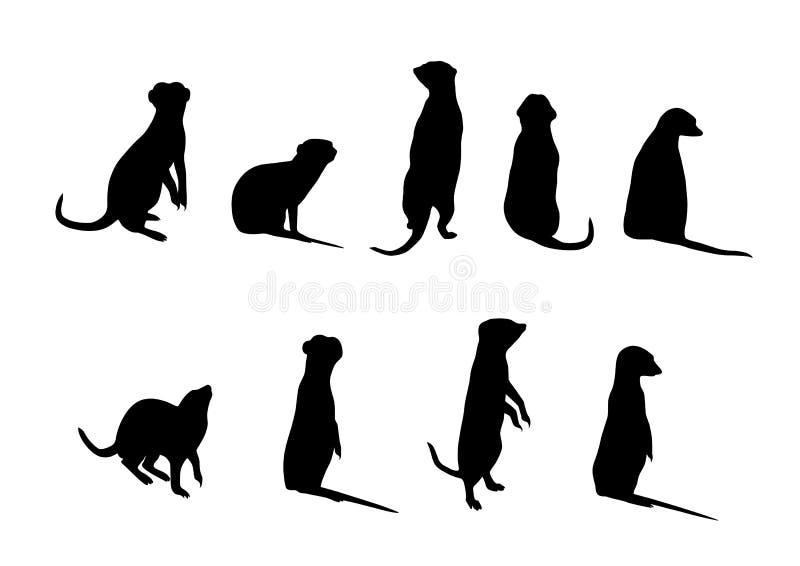 Siluetas de Meerkat ilustración del vector