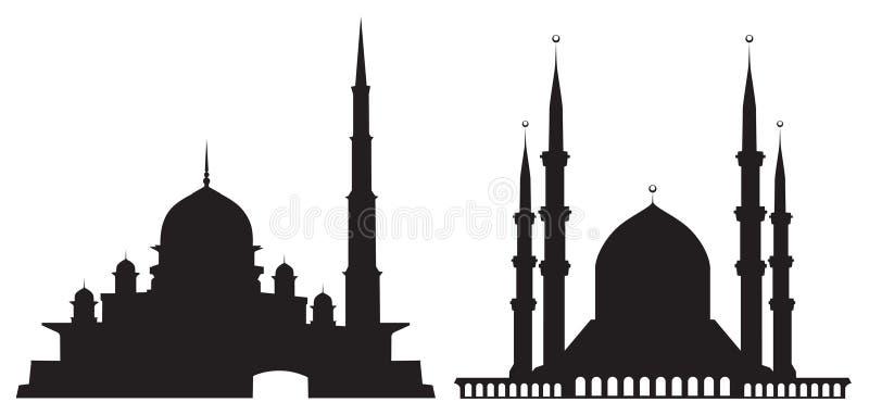 Siluetas de mezquitas stock de ilustración