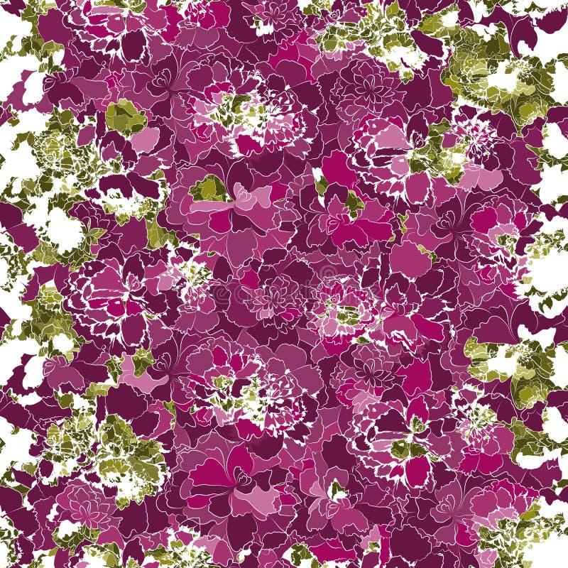 Siluetas de muchas diversas flores rosadas brillantes y hojas verdes ilustración del vector