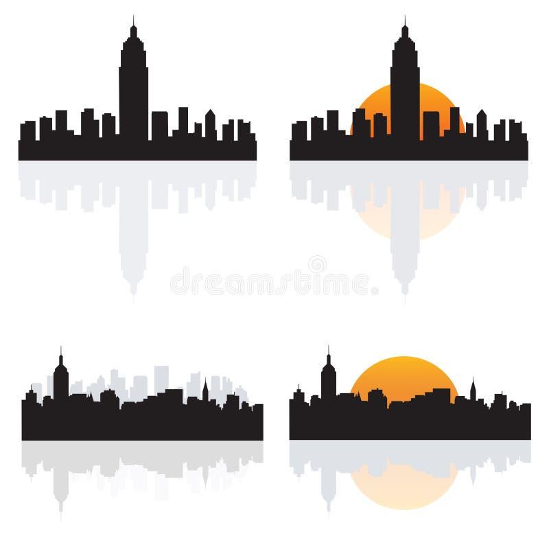 Siluetas de NY ilustración del vector
