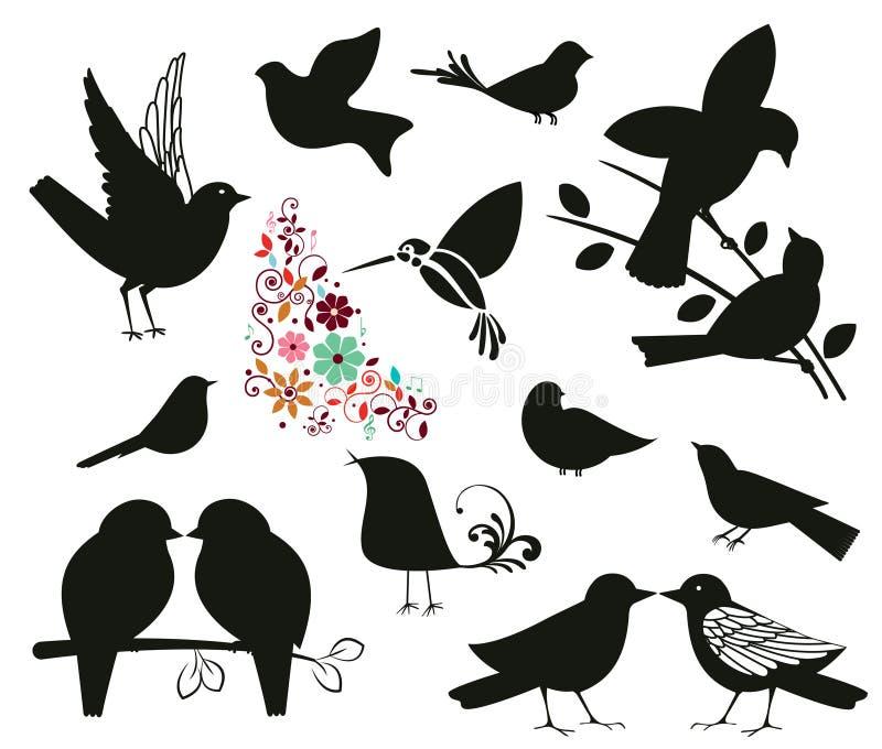 Siluetas de pájaros ilustración del vector