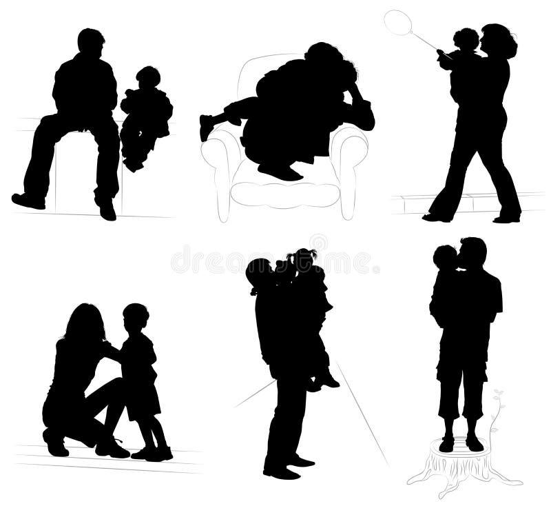 Siluetas de padres con el ch ilustración del vector