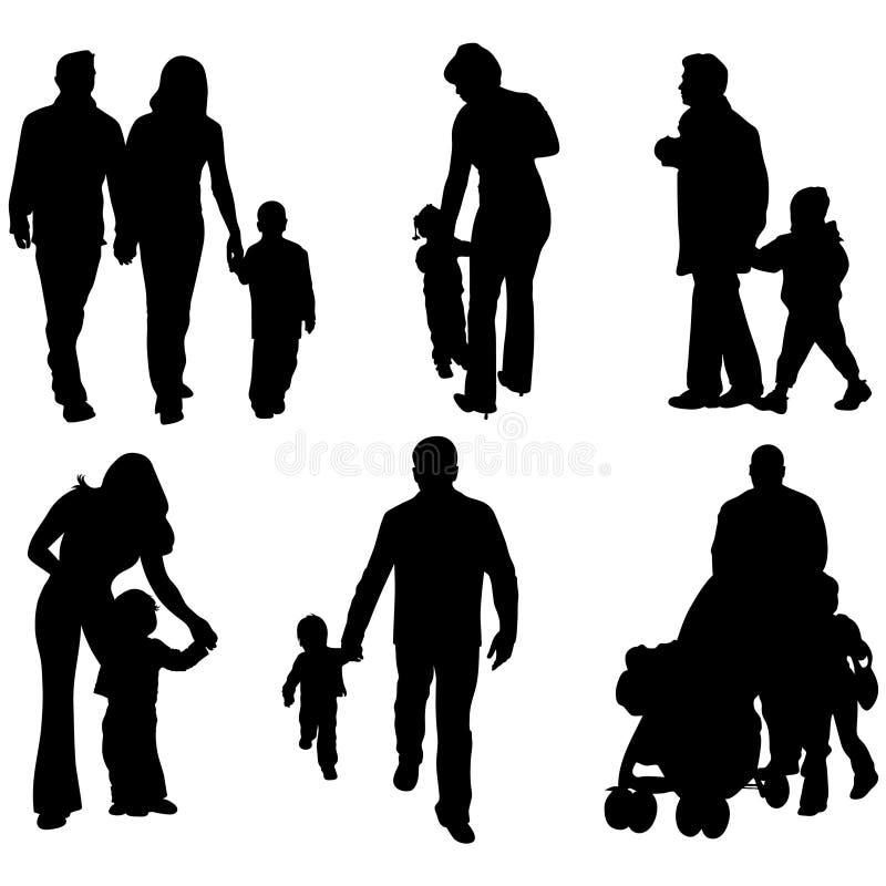 Siluetas de padres con el ch stock de ilustración