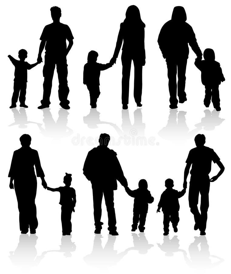 Siluetas de padres con los niños ilustración del vector