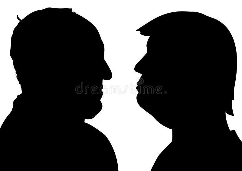 Siluetas de papa Francisco y de Donald Trump stock de ilustración