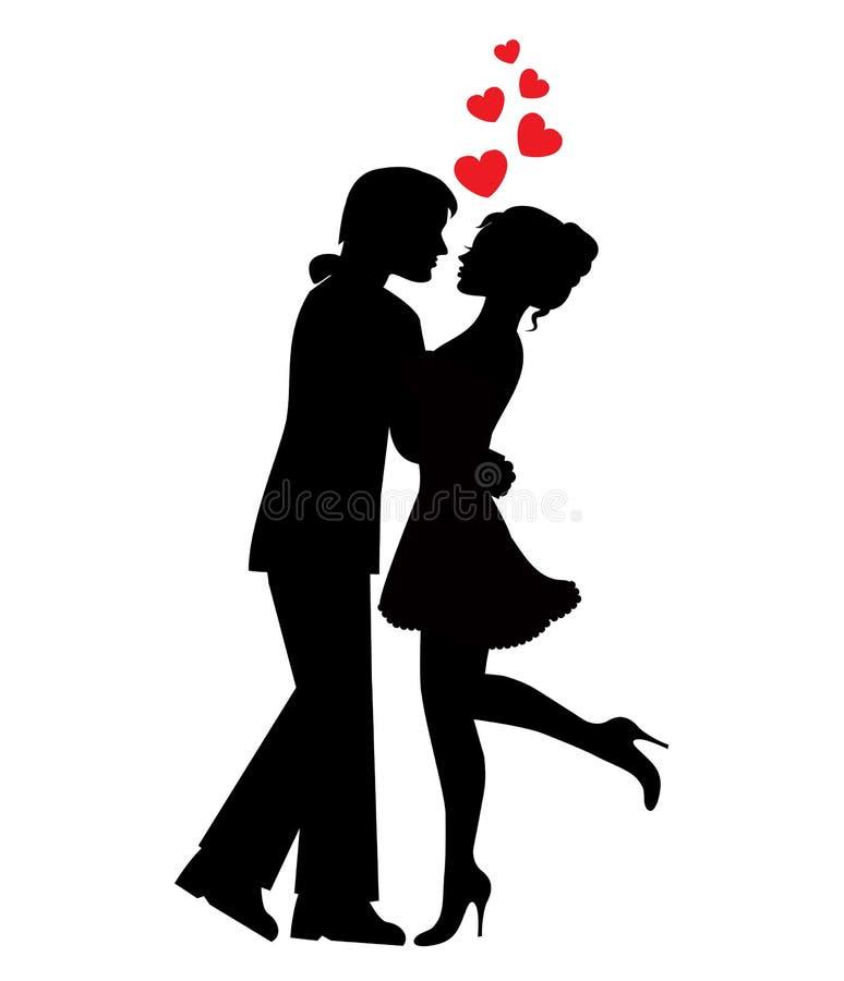 Siluetas de pares en amor ilustración del vector