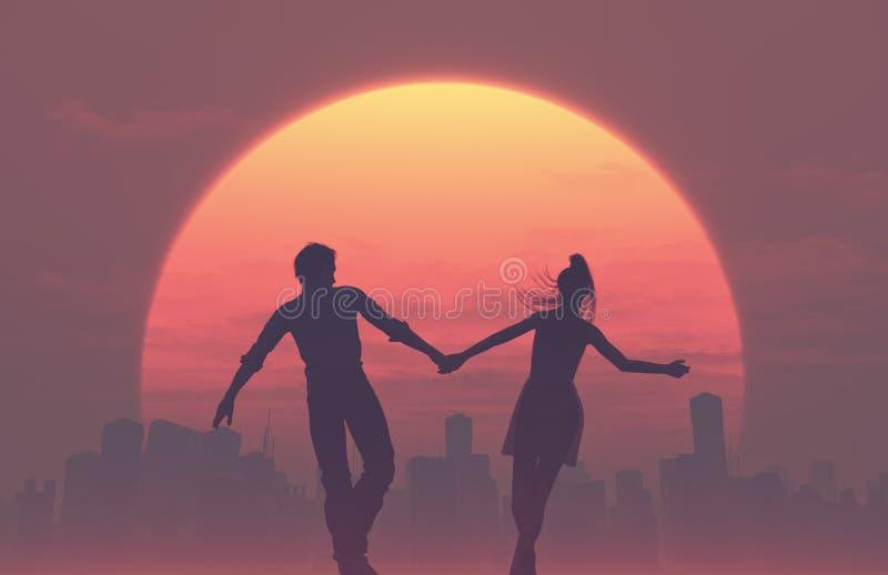 Siluetas de pares románticos jovenes stock de ilustración