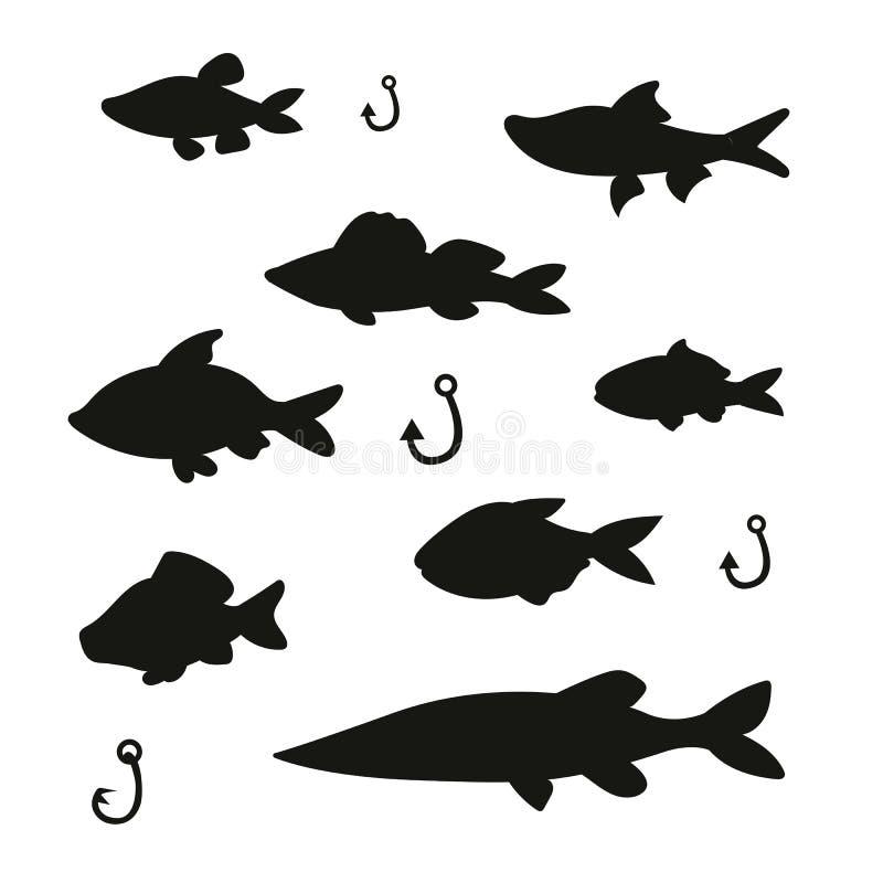 Siluetas de pescados lindos con las artes de pesca ilustración del vector