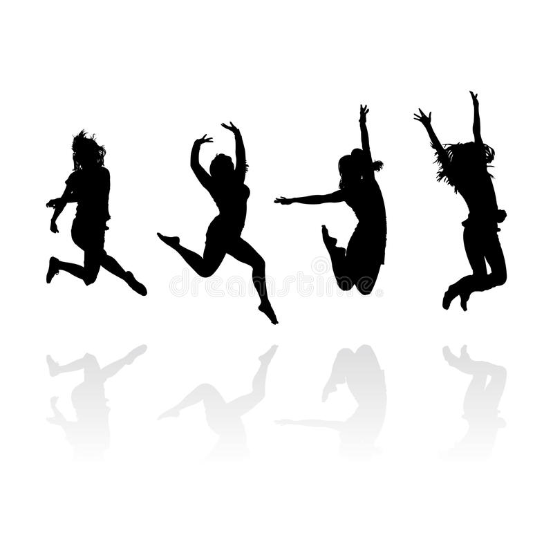 Siluetas de salto de las muchachas ilustración del vector