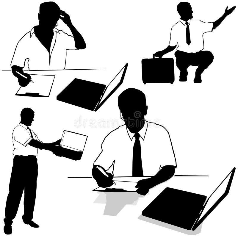 Siluetas de trabajo del hombre de negocios stock de ilustración