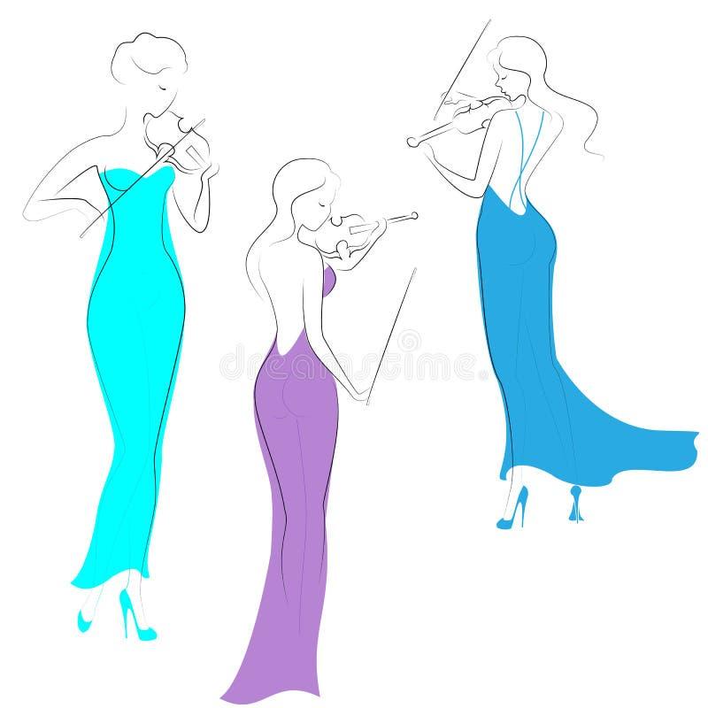 Siluetas de tres señoras hermosas en la igualación de los vestidos largos Las muchachas son delgadas y elegantes Las mujeres toca stock de ilustración
