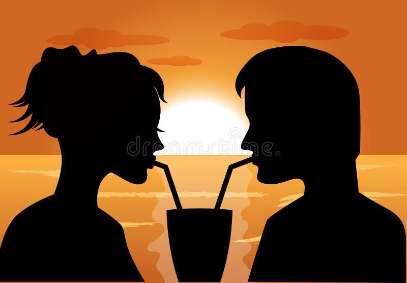Siluetas de un par en amor en la puesta del sol stock de ilustración