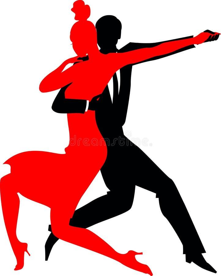 Siluetas de un par que baila el tango de Argentina libre illustration
