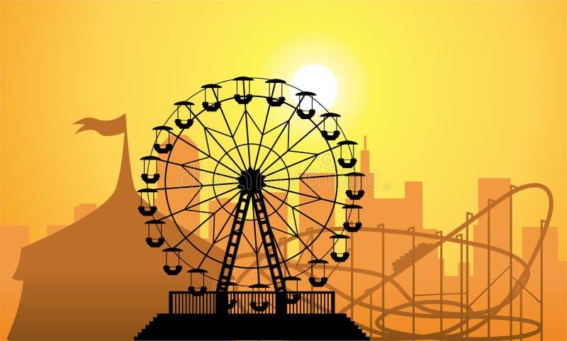 Siluetas de una ciudad y de un parque de atracciones stock de ilustración