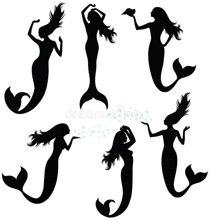 Siluetas de una sirena. stock de ilustración