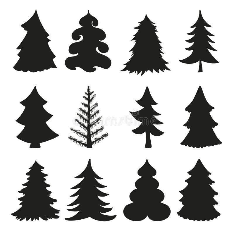 Siluetas del árbol de navidad negro libre illustration