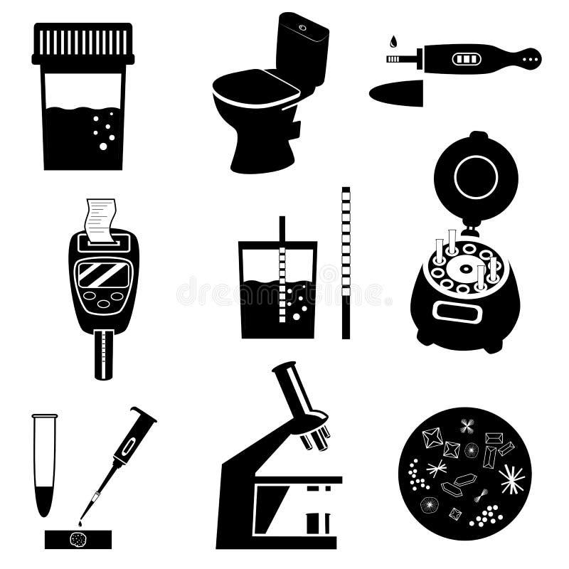 Siluetas del análisis del análisis de orina stock de ilustración