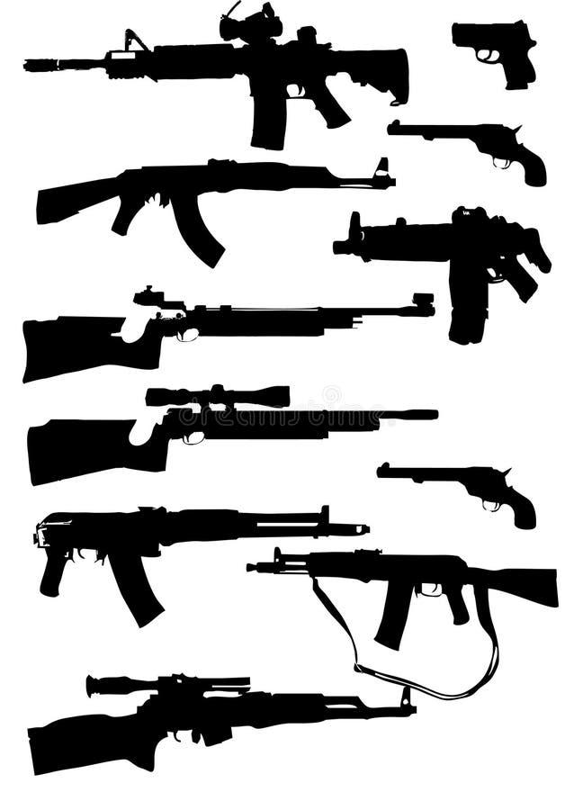 siluetas del arma stock de ilustración