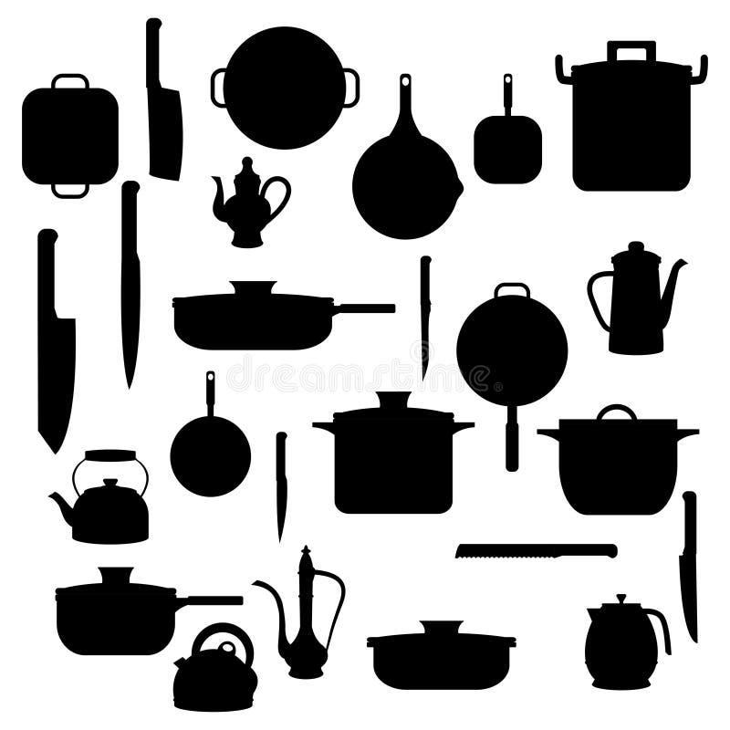 Siluetas del art culos de cocina para el fondo for Productos de cocina