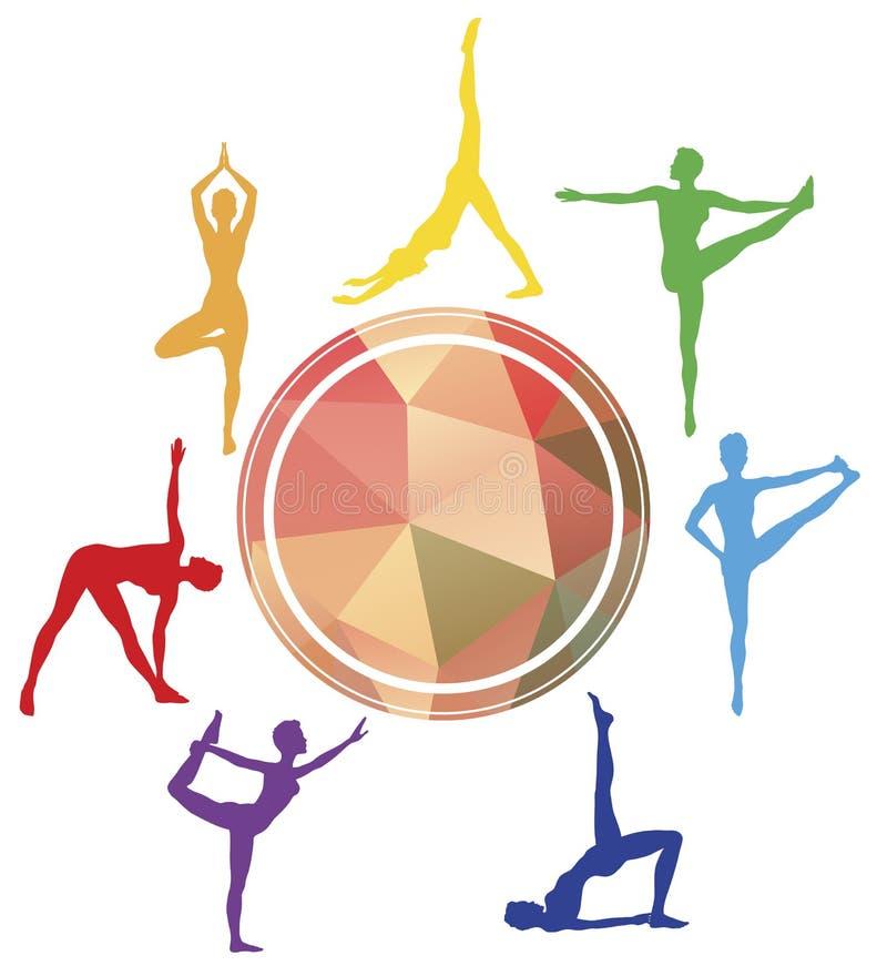 Siluetas del asana de la yoga alrededor del logotipo del estudio del deporte stock de ilustración