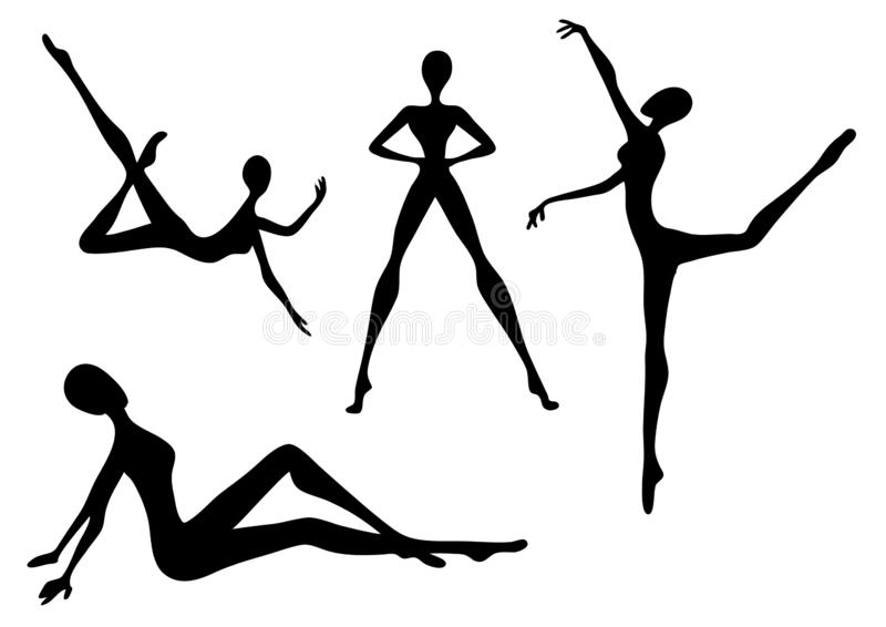 Siluetas del bailarín de la moda foto de archivo