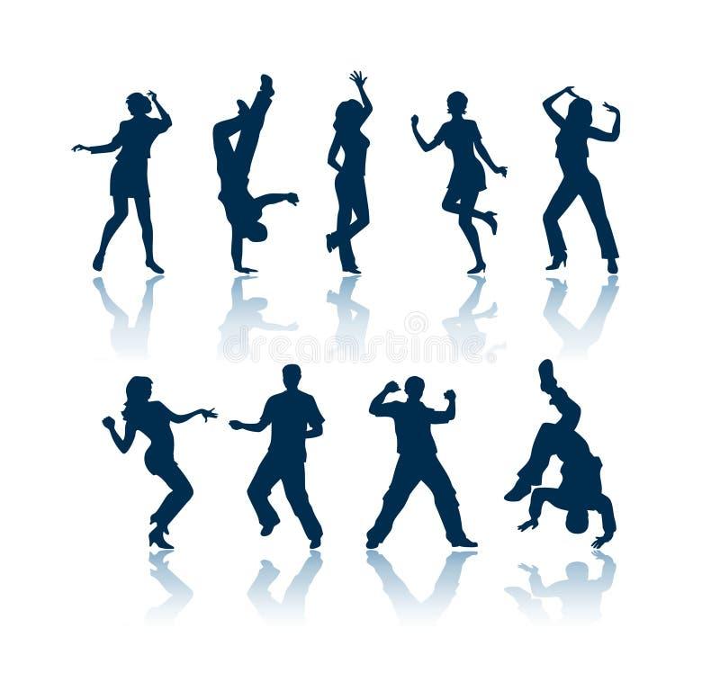 Siluetas del baile ilustración del vector