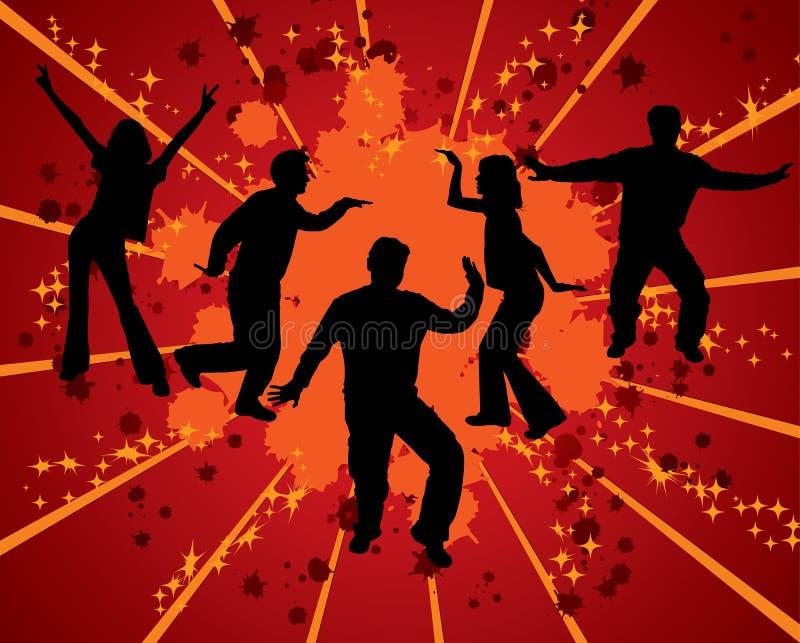 Siluetas del baile, vector stock de ilustración