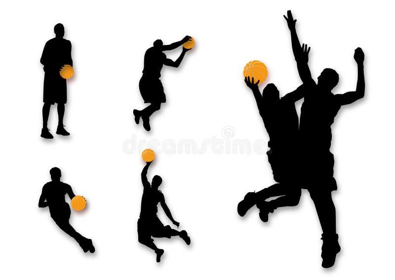 Siluetas del baloncesto stock de ilustración