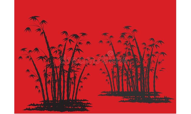 Siluetas del bambú con el fondo rojo ilustración del vector