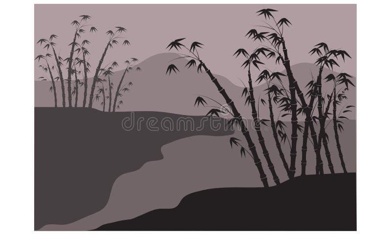 Siluetas del bambú en el río stock de ilustración