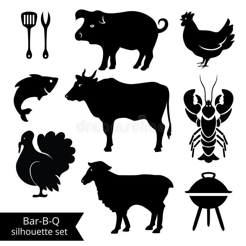 Siluetas del Bbq stock de ilustración