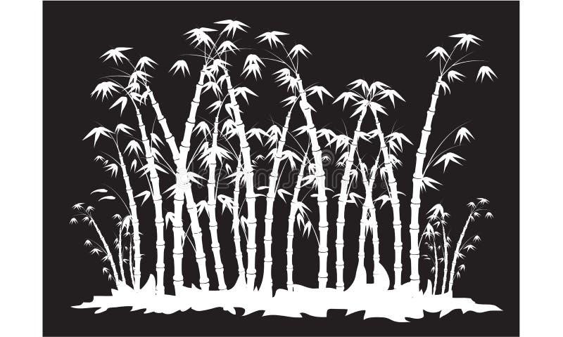 Siluetas del bosque de bambú stock de ilustración