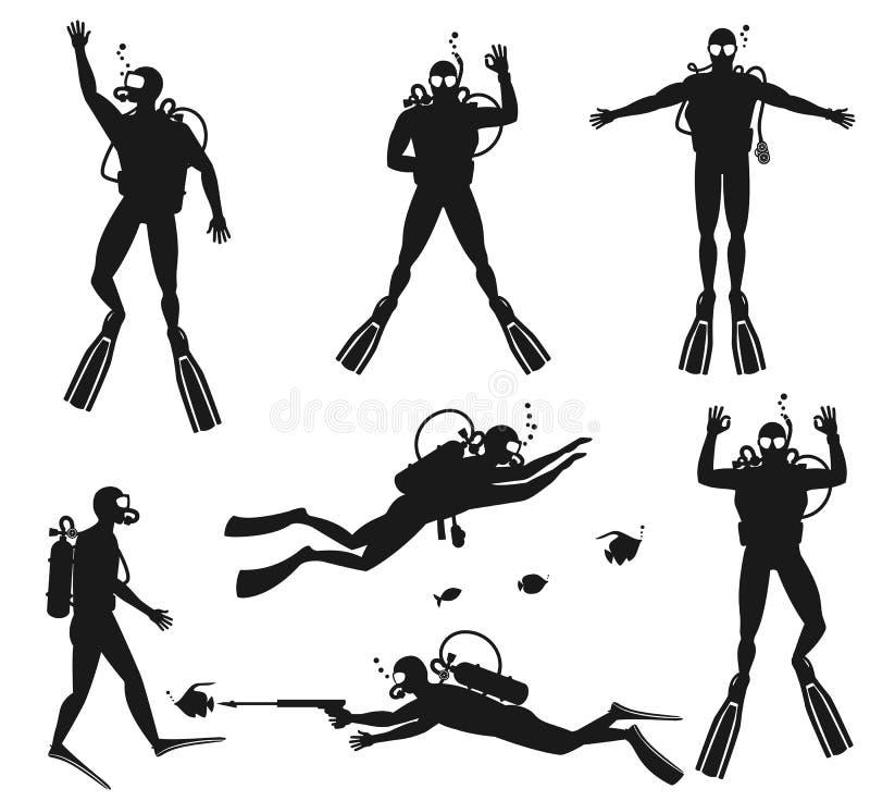 Siluetas del buceador Siluetas del salto encendido stock de ilustración