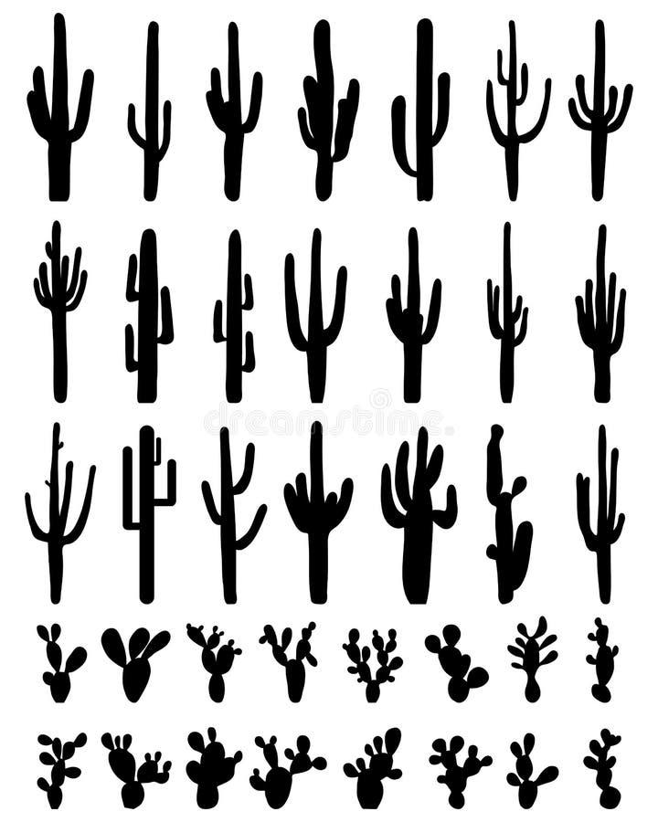 Siluetas del cactus ilustración del vector