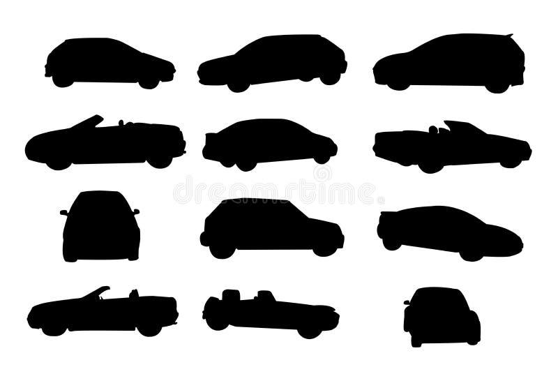 Siluetas del coche stock de ilustración