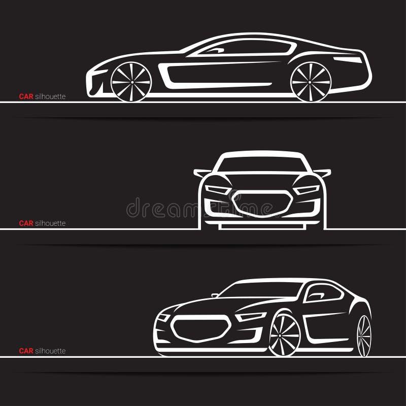 Siluetas del coche del vector fijadas Silla de manos de lujo moderna Vehículo a mano abstracto aislado en fondo negro libre illustration