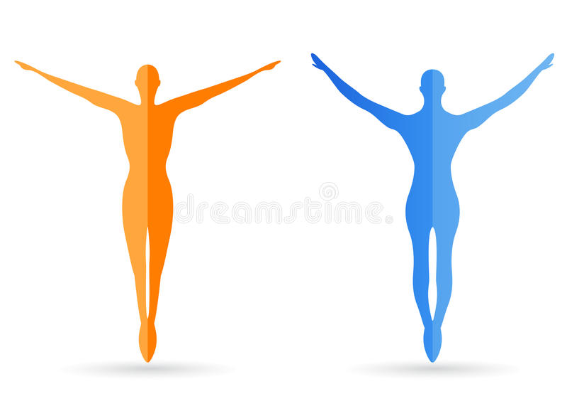 Siluetas del cuerpo humano stock de ilustración