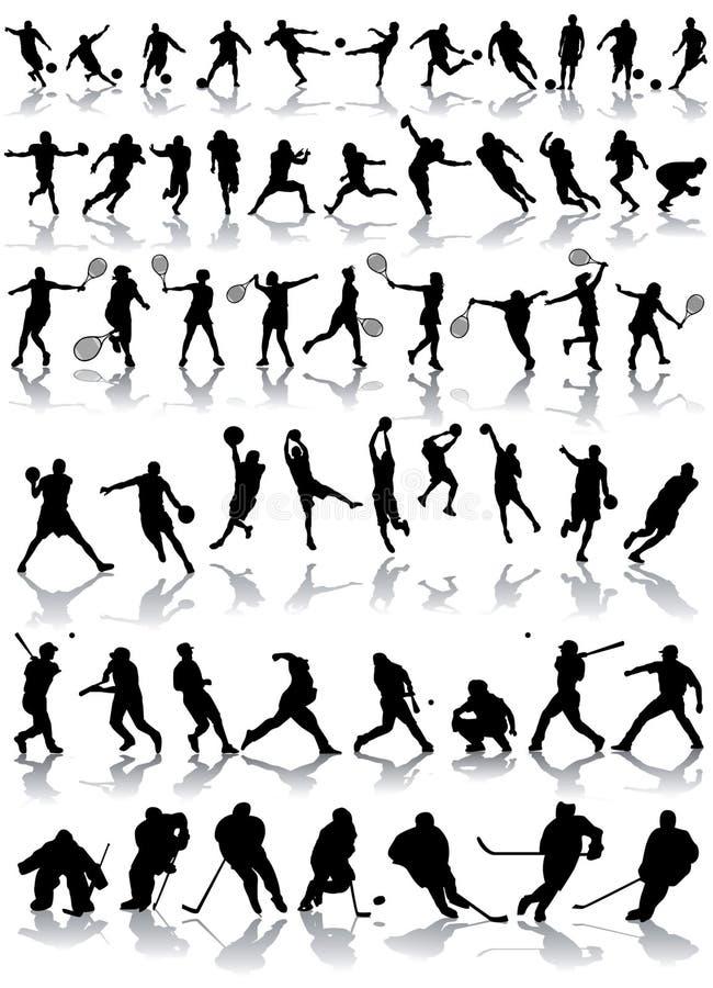 Siluetas del deporte stock de ilustración
