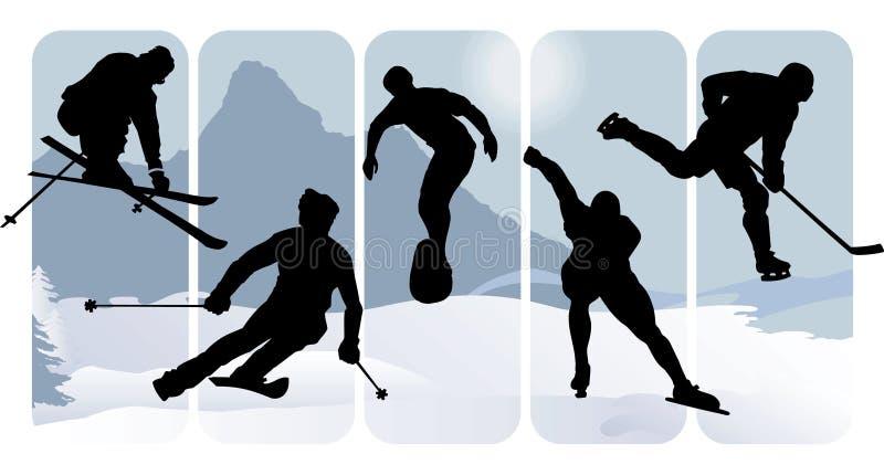Siluetas del deporte de invierno stock de ilustración
