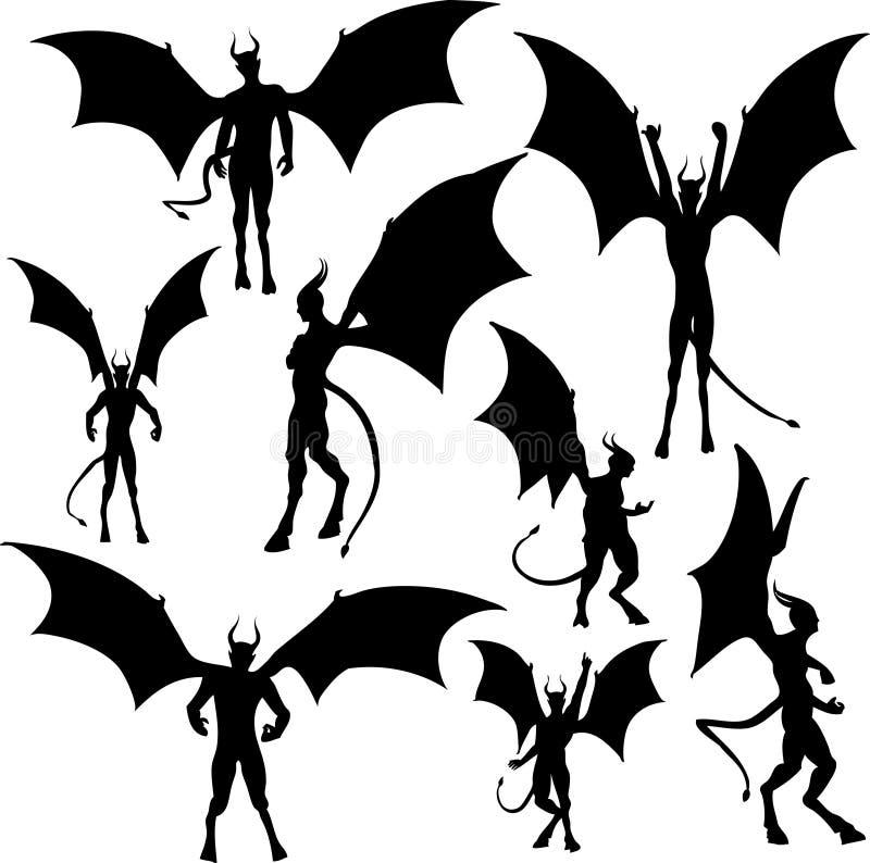Siluetas del diablo ilustración del vector