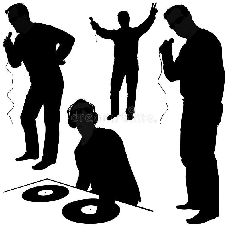 Siluetas del disc jockey ilustración del vector