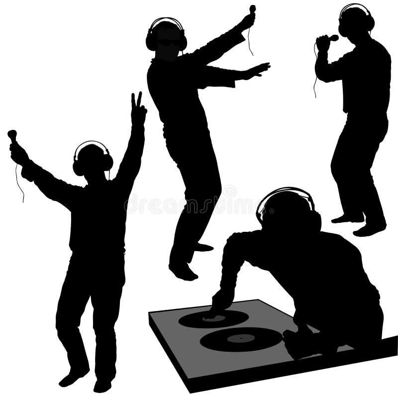 Siluetas del disc jockey stock de ilustración