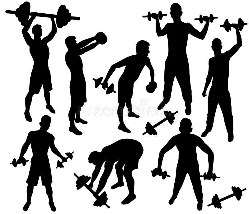 Siluetas del entrenamiento con pesas de gimnasia stock de ilustración